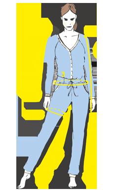 Přehled, kde se měří rozměry na overalech