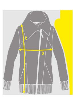 Přehled, kde se měří rozměry na mikino-kabátcích