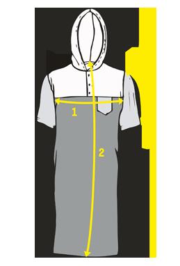 Přehled, kde se měří rozměry na pánských nočních košilí